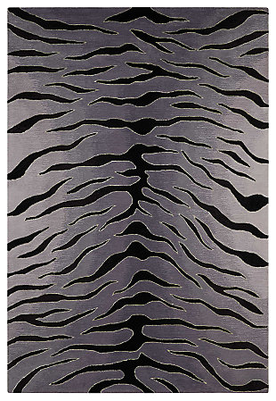 "Accessory Contour Blk/Grey 7'3"" x 9'3"" Area Rug, Gray/Black, large"