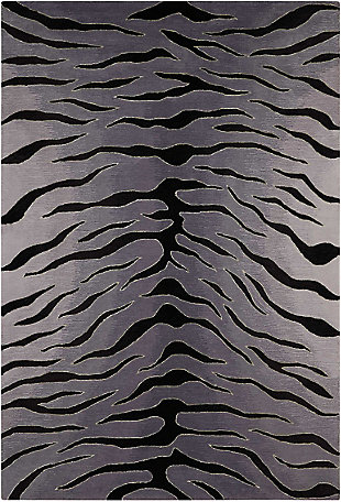 "Accessory Contour Blk/Grey 7'3"" x 9'3"" Area Rug, Gray/Black, rollover"