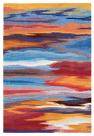 "Accessory Contour Sunset 7'3"" x 9'3"" Area Rug, Sunburst, rollover"