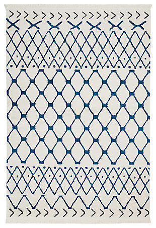 "Accessory kamala White Blue 2'2"" x 7'6"" Runner, White/Blue, large"
