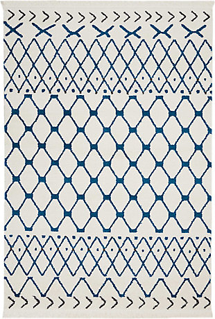 "Accessory kamala White Blue 2'2"" x 7'6"" Runner, White/Blue, rollover"