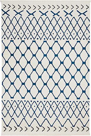 "Accessory Kamala White Blue 5'3"" X 7'3"" Area Rug, White/Blue, rollover"