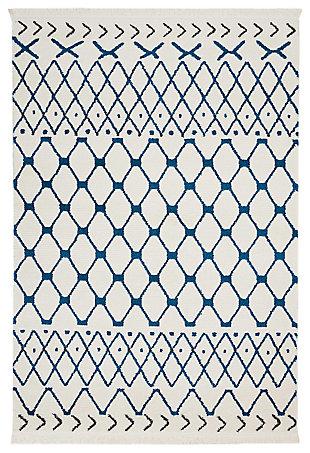 """Accessory Kamala White Blue 5'3"""" X 7'3"""" Area Rug, White/Blue, large"""