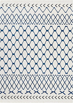 "Accessory Kamala White Blue 5'3"" x 7'3"" Area Rug, White/Blue, rollover"