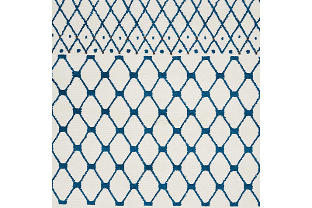"Accessory Kamala White Blue 5'3"" x 7'3"" Area Rug, White/Blue, large"