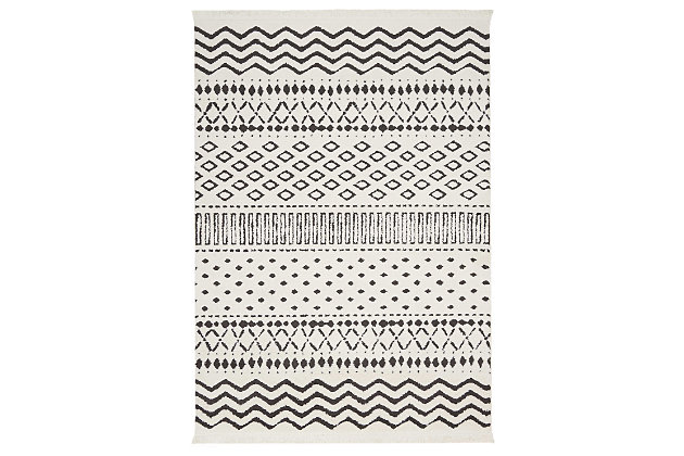 "Accessory Kamala White 5'3"" x 7'3"" Area Rug, Ivory/Navy, large"