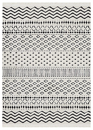 "Accessory Kamala White 7'10"" x 10'6"" Area Rug, Ivory/Navy, large"