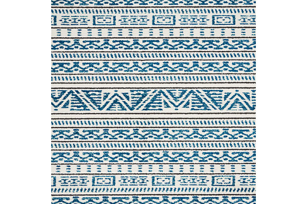 "Accessory Kamala Ivory/Blue 5'3"" x 7'3"" Area Rug, Teal/Ivory, large"
