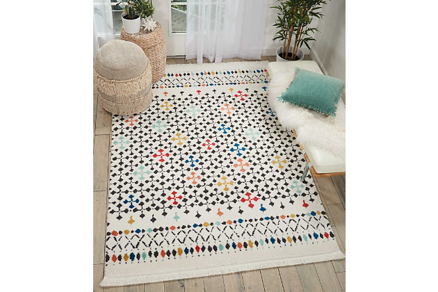 "Accessory Kamala White 5'3"" x 7'3"" Area Rug, Ivory, large"
