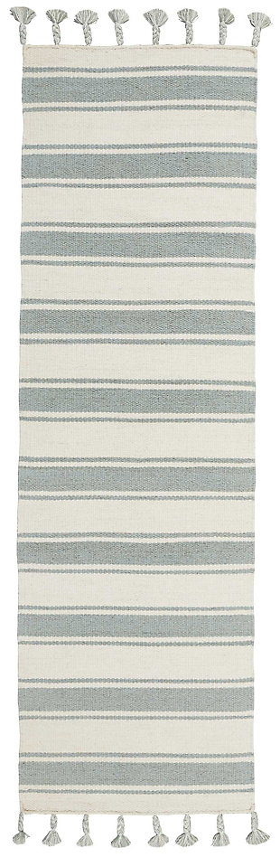 "Accessory Rio Vista Ivspa 2'3"" x 8'Runner, Pale Blue/White, large"