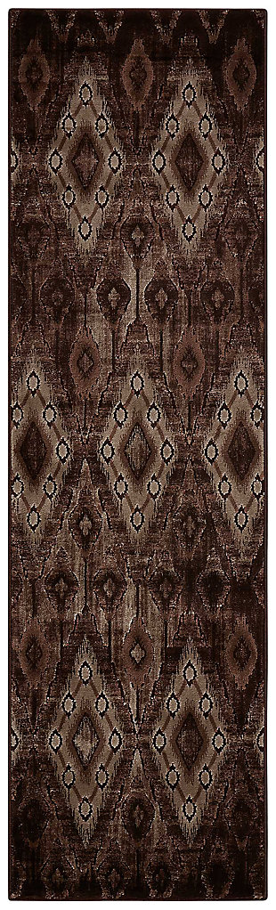 "Accessory Karma Chocolate 2'2"" x 7'6"" Runner, Chocolate, large"