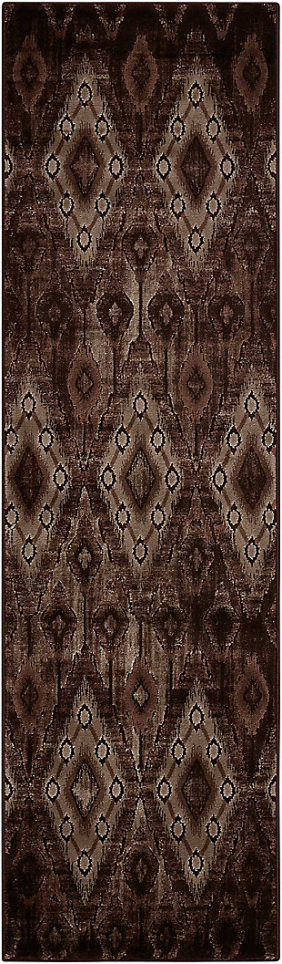 "Accessory Karma Chocolate 2'2"" x 7'6"" Runner, Chocolate, rollover"