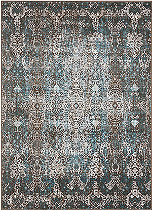 "Accessory Karma Blue 5'3"" x 7'4"" Area Rug, Charcoal, rollover"