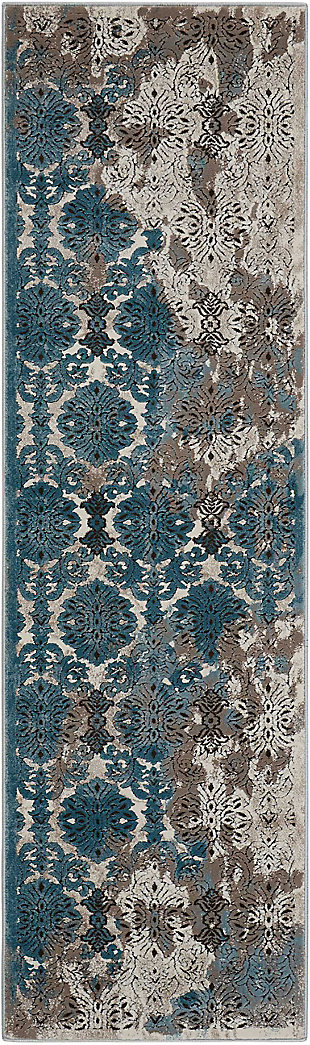 "Accessory Karma Ivory Blue 2'2"" x 7'6"" Runner, Charcoal/Teal, rollover"