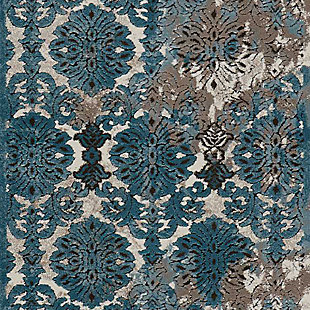 """Accessory Karma Ivory Blue 2'2"""" x 7'6"""" Runner, Charcoal/Teal, large"""