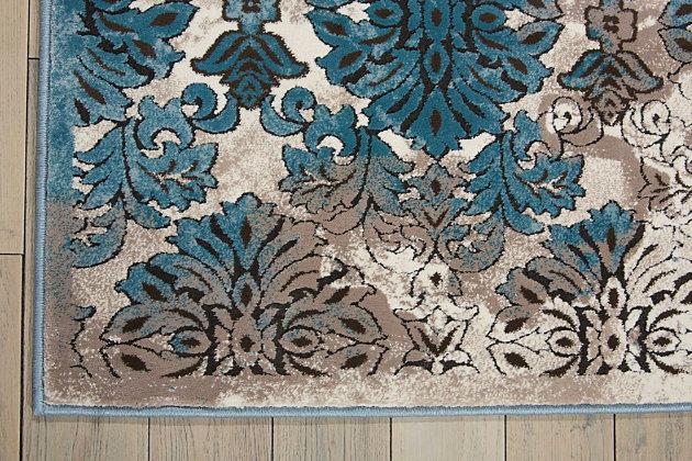 """Accessory Karma Ivory Blue 5'3"""" X 7'4"""" Area Rug, Charcoal/Teal, large"""