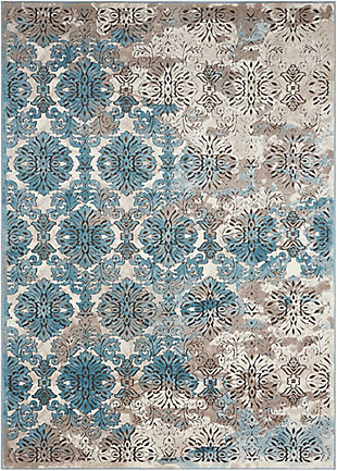 "Accessory Karma Ivory Blue 5'3"" x 7'4"" Area Rug, Charcoal/Teal, rollover"