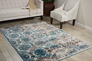 "Accessory Karma Ivory Blue 5'3"" x 7'4"" Area Rug, Charcoal/Teal, large"