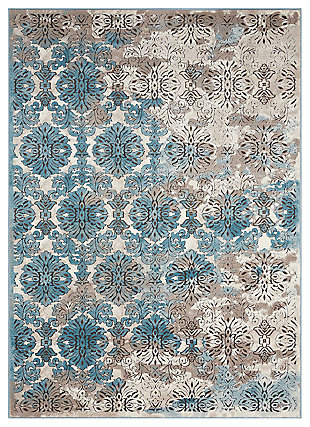 "Accessory Karma Ivory Blue 7'10"" x 10'6"" Area Rug, Charcoal/Teal, large"