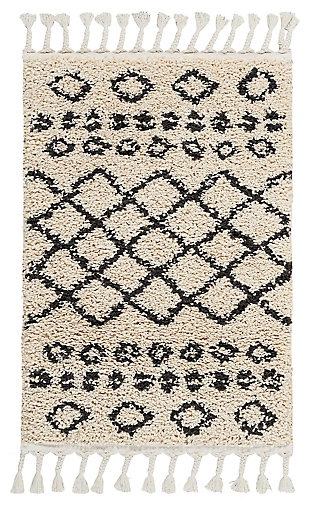 "Accessory Moroccan Shag Cream 2'2"" x 4' Accent Rug, Natural, large"