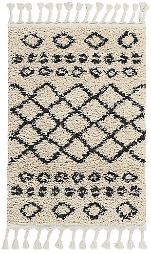 "Accessory Moroccan Shag Cream 2'2"" x 4' Accent Rug, Natural, rollover"