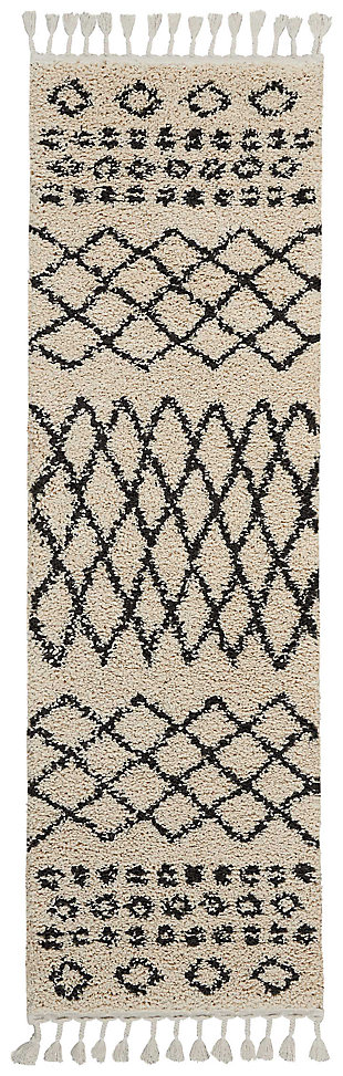 "Accessory Moroccan shag Cream 2'2"" x 8'1"" Runner, Natural, large"