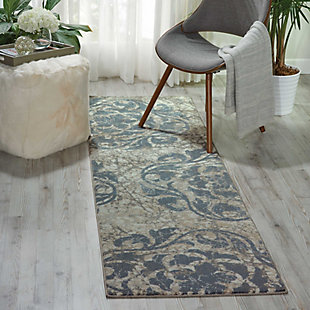 "Accessory Maxell Ivory Blue 2'2"" x 7'6"" Runner, Ash, large"