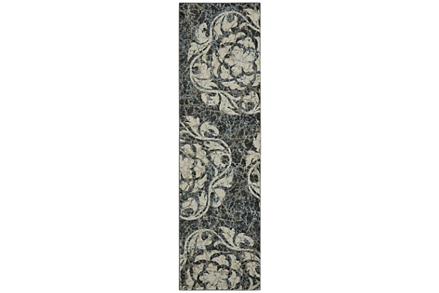 "Accessory Maxell Ivory/charcoal 2'2"" x 7'6"" Runner, Charcoal/Ivory, large"