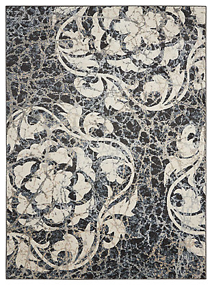 "Accessory Maxell Ivory/charcoal 5'3"" x 7'3"" Area Rug, Charcoal/Ivory, large"
