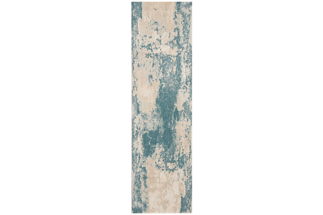 "Accessory Maxell Ivory/Teal 2'2"" x 7'6"" Runner, Teal/Ivory, large"