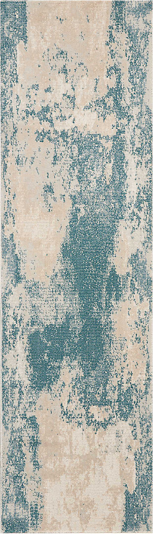 "Accessory Maxell Ivory/Teal 2'2"" x 7'6"" Runner, Teal/Ivory, rollover"