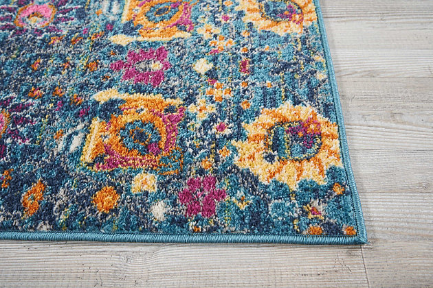 "Accessory Passion Denim 1'10"" x 2'10"" Accent Rug, Teal, large"