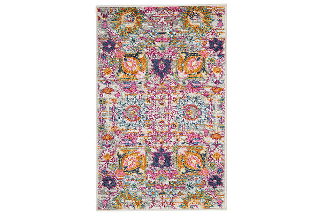"Accessory Passion Silver 1'10"" x 2'10"" Accent Rug, Blush Pink, large"