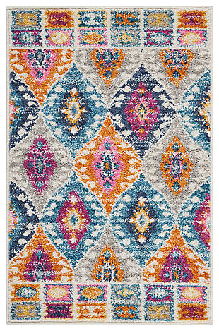 "Accessory Passion Multicolor 1'10"" x 2'10"" Accent Rug, Teal, large"