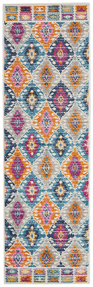 "Accessory Passion Multicolor 1'10"" x 6'Runner, Teal, large"
