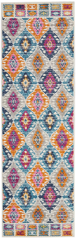 "Accessory Passion Multicolor 1'10"" x 6'Runner, Teal, rollover"