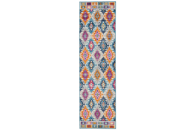 "Accessory Passion Multicolor 2'2"" x 7'6"" Runner, Teal, large"