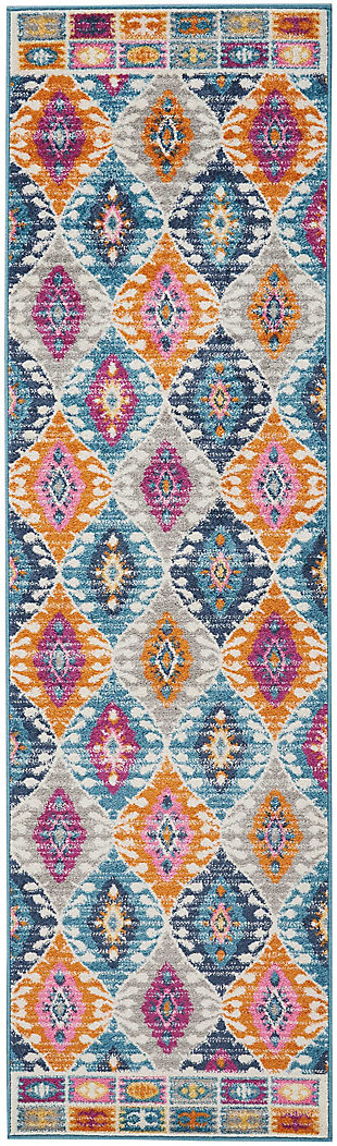 "Accessory Passion Multicolor 2'2"" x 7'6"" Runner, Teal, rollover"