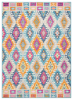 "Accessory Passion Multicolor 3'9"" x 5'9"" Area Rug, Teal, large"