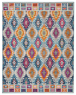 "Accessory Passion Multicolor 6'7"" x 9'6"" Area Rug, Teal, large"