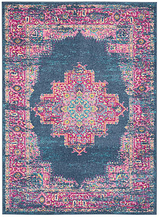 "Accessory Passion Blue 5'3"" x 7'3"" Area Rug, Teal/Fuchsia, rollover"