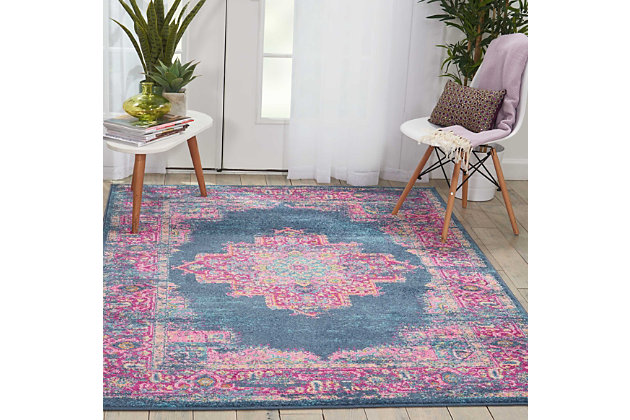 "Accessory Passion Blue 5'3"" x 7'3"" Area Rug, Teal/Fuchsia, large"