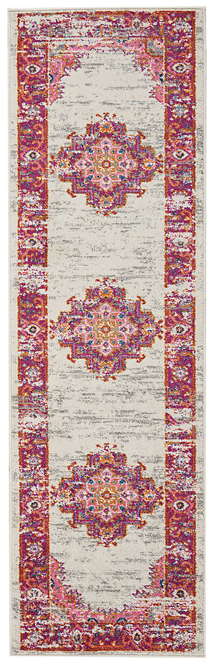 "Accessory Passion Ivory/Fushia 2'2"" x 7'6"" Runner, Ivory/Fuchsia, large"