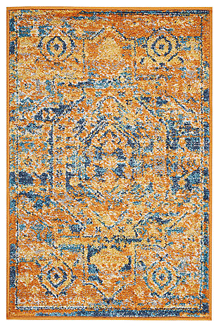 "Accessory Passion Teal/Sun 1'10"" x 2'10"" Accent Rug, Sun/Teal, large"