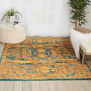 "Accessory Passion Teal/Sun 3'9"" x 5'9"" Area Rug, Sun/Teal, large"