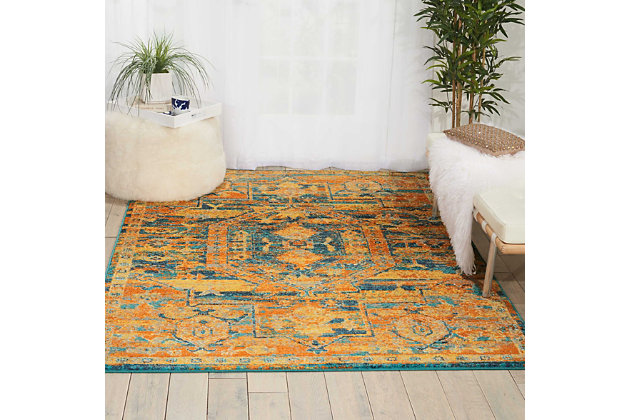 "Accessory Passion Teal/Sun 5'3"" x 7'3"" Area Rug, Sun/Teal, large"