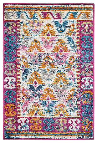 "Accessory Passion Ivory 1'10"" x 2'10"" Accent Rug, Ivory/Fuchsia, large"