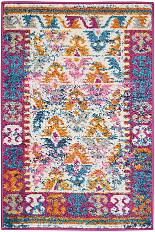 "Accessory Passion Ivory 1'10"" x 2'10"" Accent Rug, Ivory/Fuchsia, rollover"