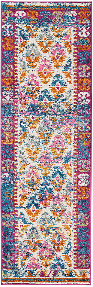 "Accessory Passion Ivory 1'10"" x 6'Runner, Ivory/Fuchsia, rollover"
