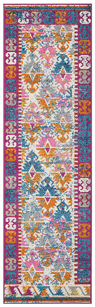 "Accessory Passion Ivory 2'2"" x 7'6"" Runner, Ivory/Fuchsia, large"